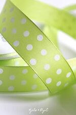 (0,55€m)4m feines Taftband Dekoband Geschenkband lind grün Punkte 25mm Pünktchen