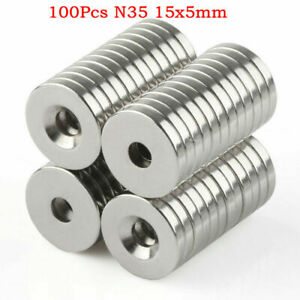 5-100pcs N35 15 x 5 mm Hole 5mm Round Neodymium Countersunk  Rare Earth Magnets
