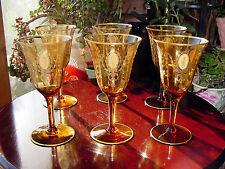 4 Antique 1920~30's TIFFIN CHARMAIN Amber GOLD ENCRUSTED Wine Stemware Glass SET