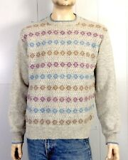 vtg 70s 80s Jantzen Gray Colorful Geometric Wool Crewneck Sweater Ski sz Xl