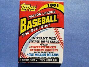 1991 Topps baseball unopened wax pack; CHIPPER JONES ROOKIE CARD? (EX) HOF