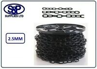 2.5mm STEEL CHAIN, WELDED LINK, ELECTRO BLACK PLATED 1 MTR UP TO 10 MTRS LENGTHS