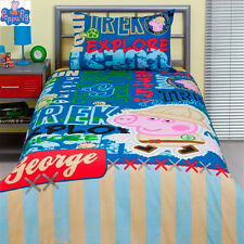 Genuine Aust. Quality Peppa Pig George Single Bed Quilt/Doona/Duvet Cover Set