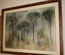 """Quadro con pastello di Pietro Guberti """"Pineta"""" cm.50x70 ca.  - Ravenna"""