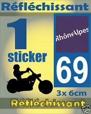1 Sticker REFLECHISSANT département 69 rétro-réfléchissant immatriculation MOTO