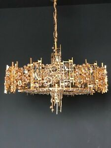 XXL Palwa Gilt Brass Crystal Glass Hollywoodregency Chandelier Mid Century 1970