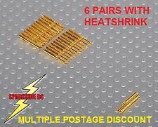 Conectores de bala de oro 0.8mm 6 pares Inc Heatshrink-vendedor del Reino Unido-Envío rápido