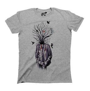 Tree Art Head Suit Mens Ladies Unisex ORGANIC Cotton T-Shirt Gothic Arty Top Eco