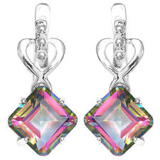 8.3ct,10mm Mystic Topaz Square Dangle Earrings Solid 925 Silver Fashion