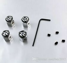 Volkswagen Tyre Caps Dust Anti Theft Locking Set Of 4 Chrome Valve Tire Cap VW