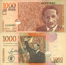 Colombia P456, 1000 Peso, Jorge Eliecer Gaitán with crowd UNC 2008