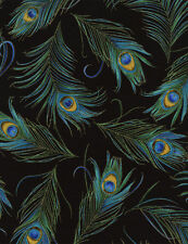 Timeless Treasures Tossed Peacock Feathers Metallic cotton fabric by the yard