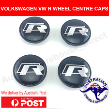 VW VOLKSWAGEN R WHEEL CENTRE CAPS 65mm PASSAT TIGUAN GOLF GTI EOS CENTER HUBS X4