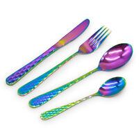 Stainless Steel Cutlery Sets 16/24/ 32 piece Set Iridescent Rainbow Hive Design
