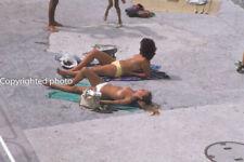 Vintage photo slide 1980s - 2 nude women sunbathing