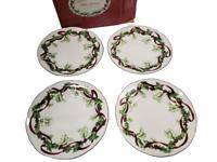 Charter Club Winter Garland(7) Luncheon/Salad Plate Holly Ribbon Design w/ Box
