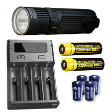 Nitecore SRT9 Flashlight w/I4 Charger, 2x NL183 & 4x CR123A Batteries