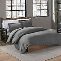 Garment Washed Solid King 3-Piece Duvet Cover Set in Charcoal Grey