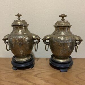 Antique Chinese pair brass urn vases bird elephant general horse wood stand lid
