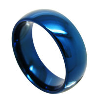 8Mm Tungsten Carbide Comfort Fit  Ring Band Blue High Polish Mens Jewelry