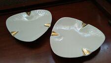 Lenox 2 Ashtrays Ivory with Gold Trim Triangle Design 6.5� Made Usa