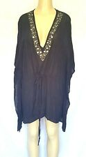 Michael Kors Black Tunic Top Blouse Shirt Cover Up 2X Jeweled V Neck Batwing Plu
