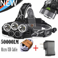 50000LM 5Head XM-L XML T6 LED 18650 Micro USB Headlamp Headlight 2PCS Chargers