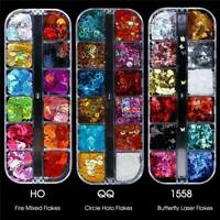 12 Grids 3D Holographic Laser Glitter Flakes Butterfly Sequins Nail Art Decor US