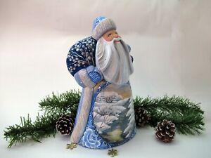 Russian Santa with winter scene,wood carved Santa