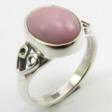 Ring Size 4.5 Sterling Silver Natural Pink Oval Cabochon Phosphosiderite Ethnic