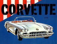 1958 ANTIQUE VINTAGE CORVETTE CHEVROLET CAR AUTOMOBILE VINTAGE POSTER REPRO