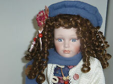 Jessica beautiful 18in Kingstate spiral curls porcelain doll with stand