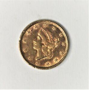 1853 U.S. Gold Dollar - Genuine - AU - Rim Ding !!!
