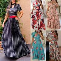 Women's party evening summer beach dress sundress boho floral long maxi cocktail