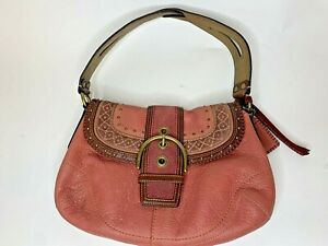 COACH SOHO BAG F10479 MAUVE LEATHER AND SUEDE GOLD ACCENTS Rare Color!