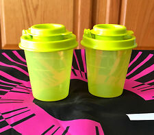 TUPPERWARE SALT AND PEPPER SHAKER SET OF 2 Midget NEW S&P GREEN BPA FREE SHIP