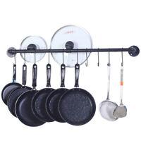 """39"""" Wall Mount Pot Pan Hanging Rack Kitchen Cookware Storage Organizer &14 Hooks"""