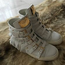 GIUSEPPE ZANOTTI White Leather High Trainers/Sneakers with Fringe  40 UK 7