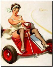 "Vintage GIL ELVGREN Pinup Girl CANVAS PRINT Go Cart 8X10"""