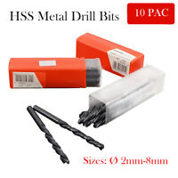 10PCS Professional Quality HSS Metric Twist Metal Drill Bits Sizes From 2-8mm