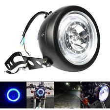 "Motorcycle Blue HALO Ring LED 6.5"" Headlight Black For Harley Bobber Angel Eye"