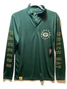 NFL Team Apparel Green Bay Packers Men's Sm 1/4 Zip Long Sleeve Shirt NWT Green
