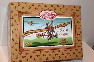 VERY NICE EPL LEHMANN IKARUS #653 FLYING POSTMAN TIN WIND UP AIRPLANE IN BOX