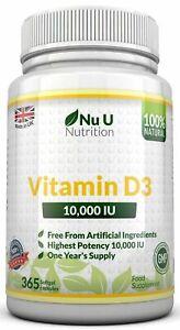 Vitamin D3 10000iu High Strength 365 Soft Gel capsules Vitamin D 10,000iu Vit d3
