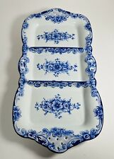 Vintage Olaria de Alcobaca Design Portugal Hand Painted Divided Porcelain Tray
