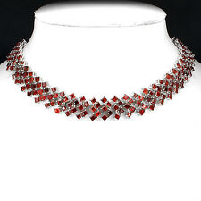 Sterling Silver 925 Genuine Natural Garnet 5 Row Cluster Necklace 25.5 Inches
