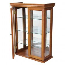 Curio Cabinet Display Case Gl Doors Hanging Wall Mounted Shelf Free Standing