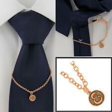 """Ky & Co Initial E Rose Gold Tone Tie Chain Button Hole Attachment 7.5"""" USA Made"""
