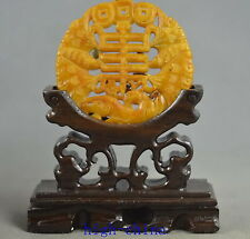 Collectable Handwork Old Boxwood Jade Carve Special Ancient Character Statue