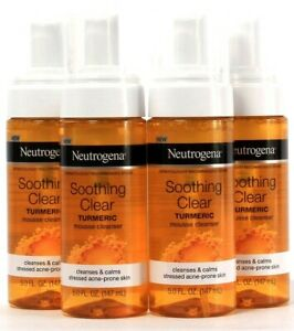 4 Ct Neutrogena 5 Oz Soothing Clear Turmeric Mousse Cleanser For Acne Prone Skin